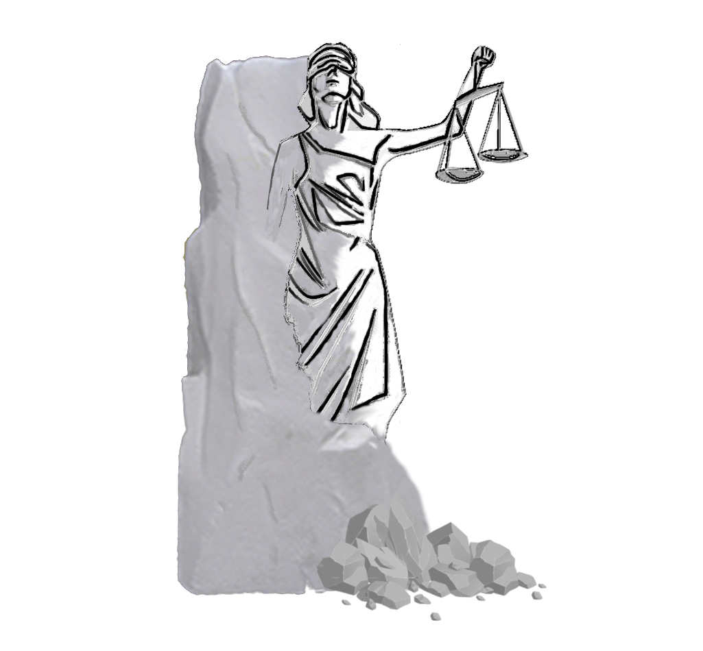 Lady Justice being sculpted out of solid granite