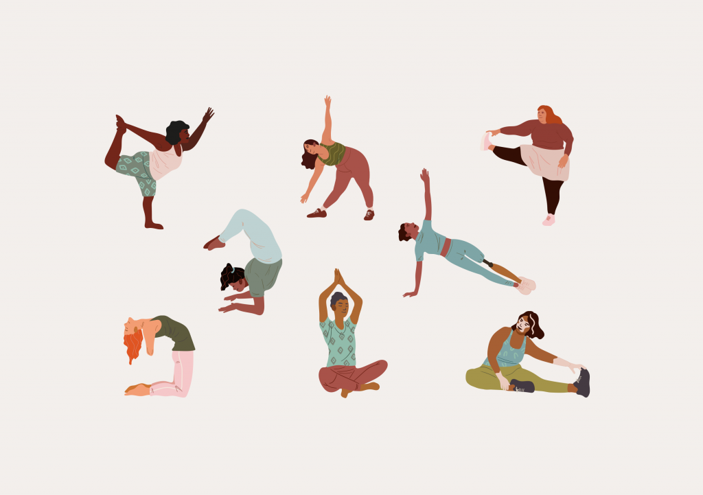 An illustration of eight people of different genders, ethnicities, and body types doing different yoga postures.