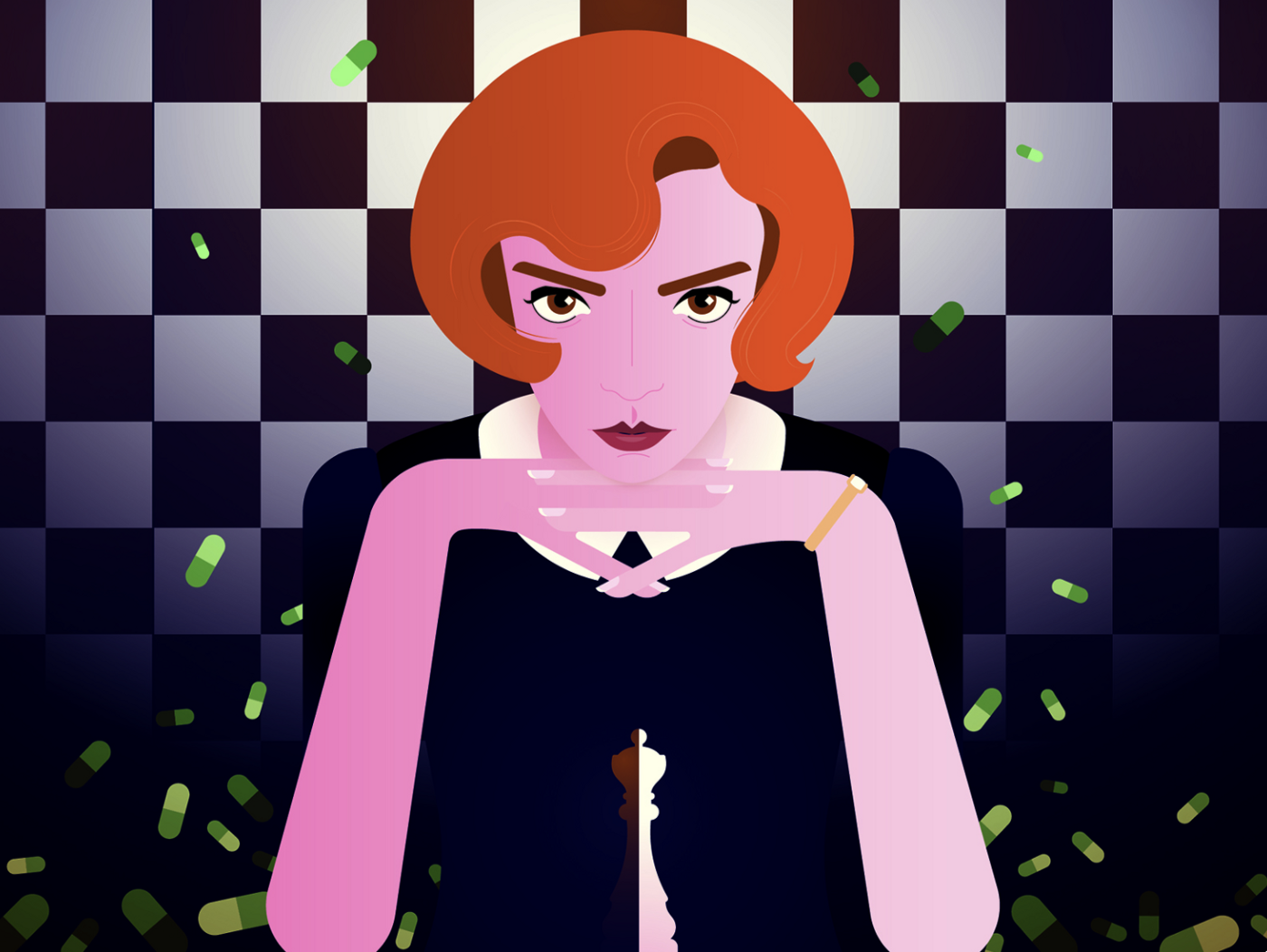 """Illustration of Beth Harmon, main character from """"The Queen's Gambit"""""""