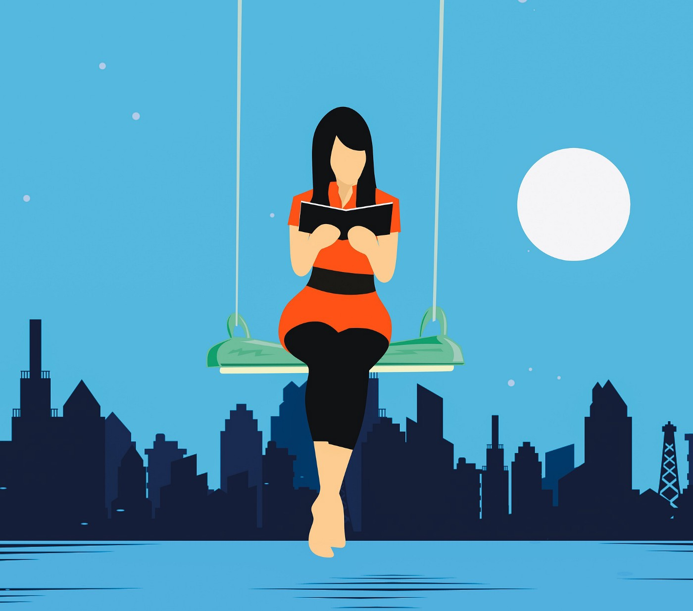 Illustration of a woman sitting on a swing, reading in moonlight.