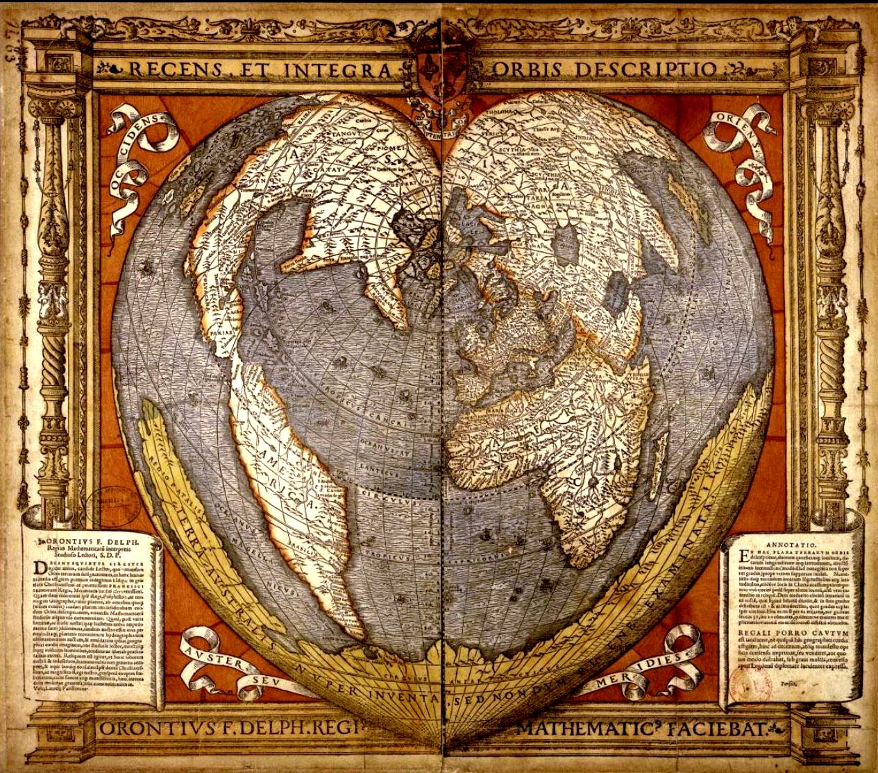 An antique world map projection with the shape of a heart. Near the center top is the North Pole, with America stretching south on the left hand side, and Europe, Africa and Asia on the right, both following the curve of the heart.
