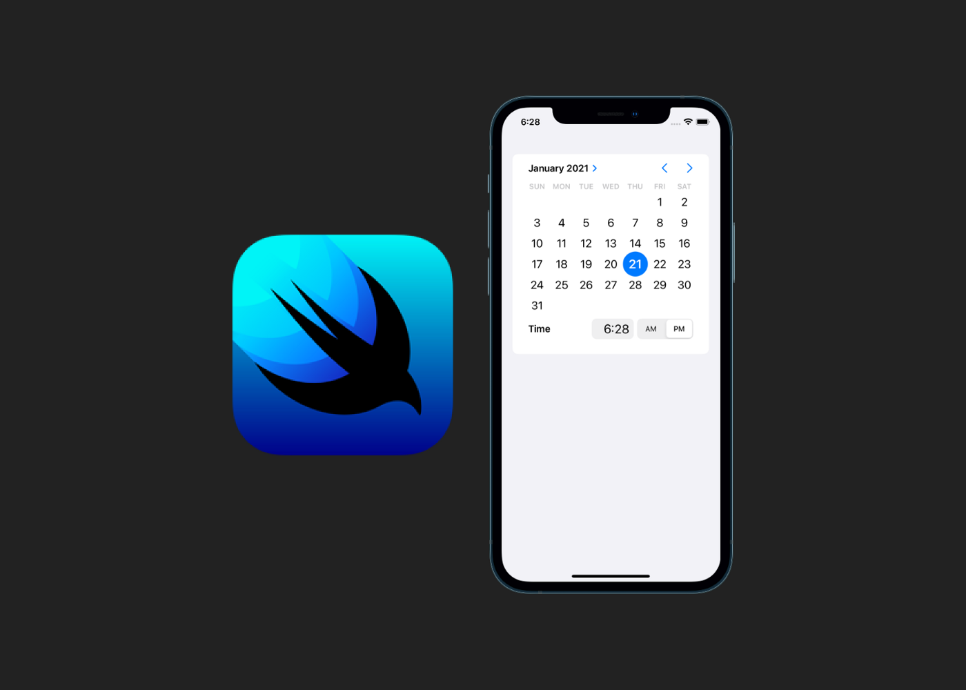 SwiftUI logo and iPhone with DatePicker