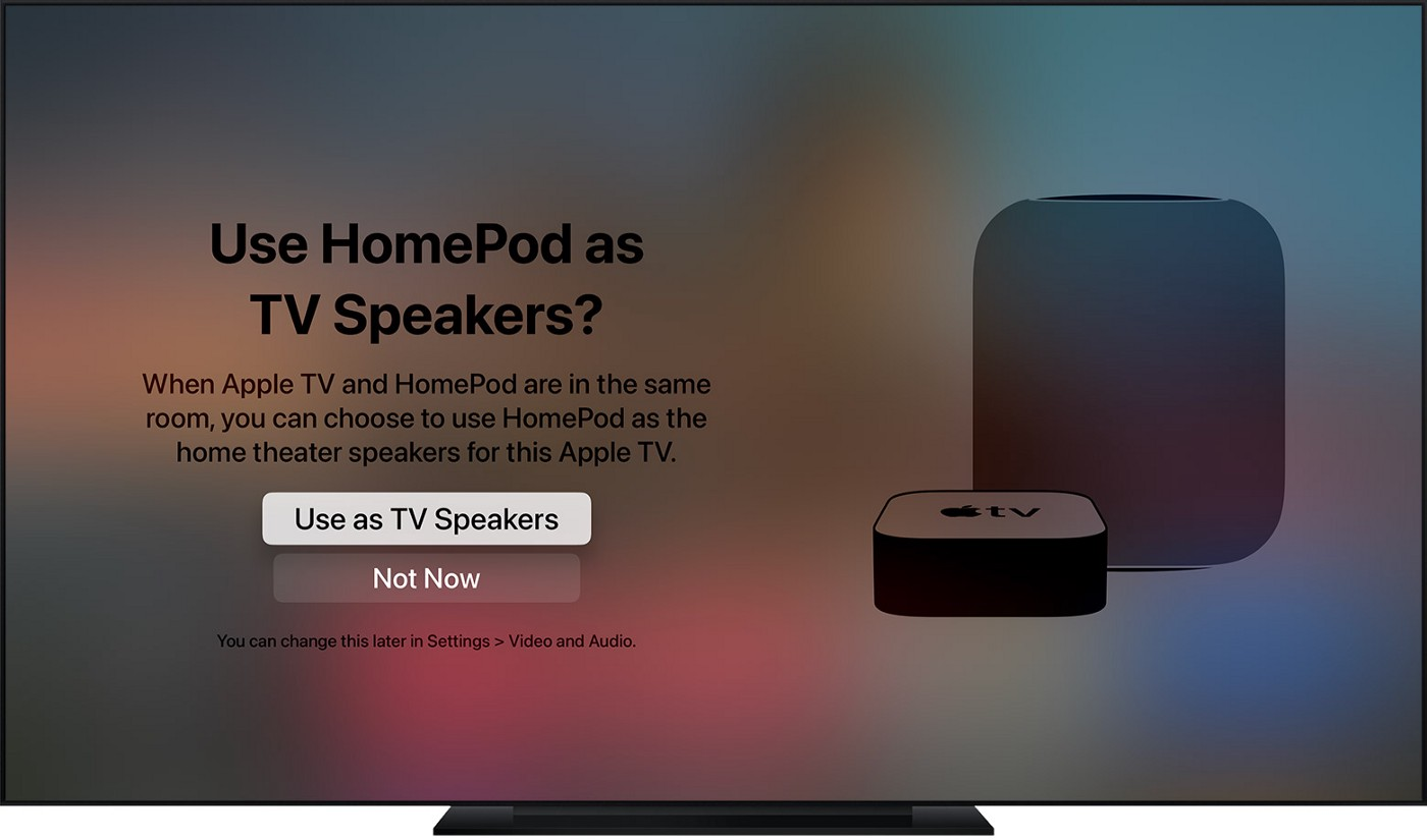 Homepod Home theater mode prompt on AppleTV