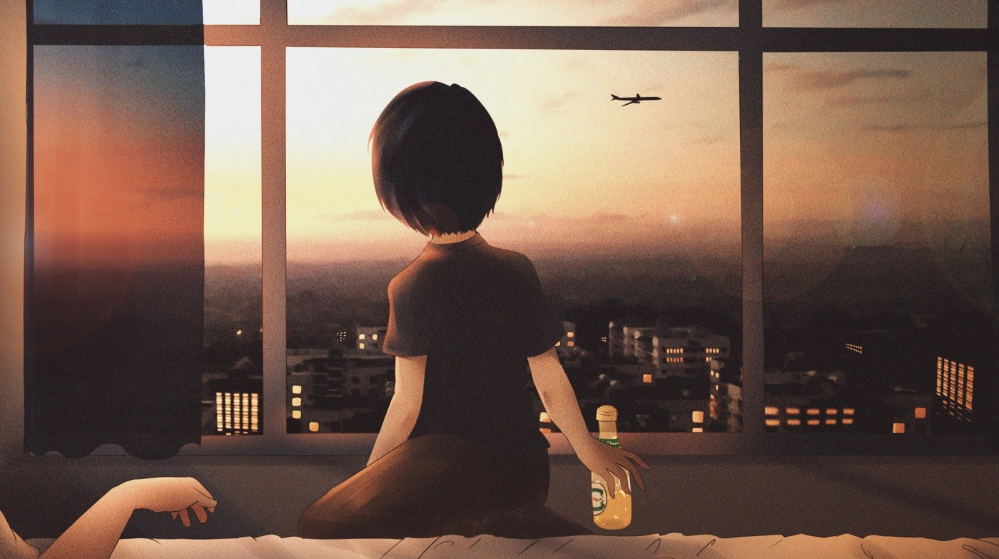 The author's Japanese ex-girlfriend, staring out the window, on their last night at an Airbnb, during happier times