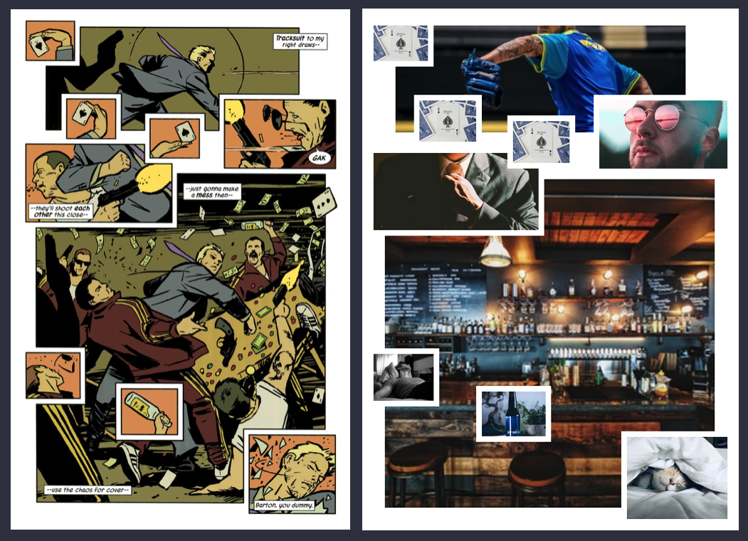 Page from Hawkeye #1 next to a CSS Grid recreation showing a layered panel approach