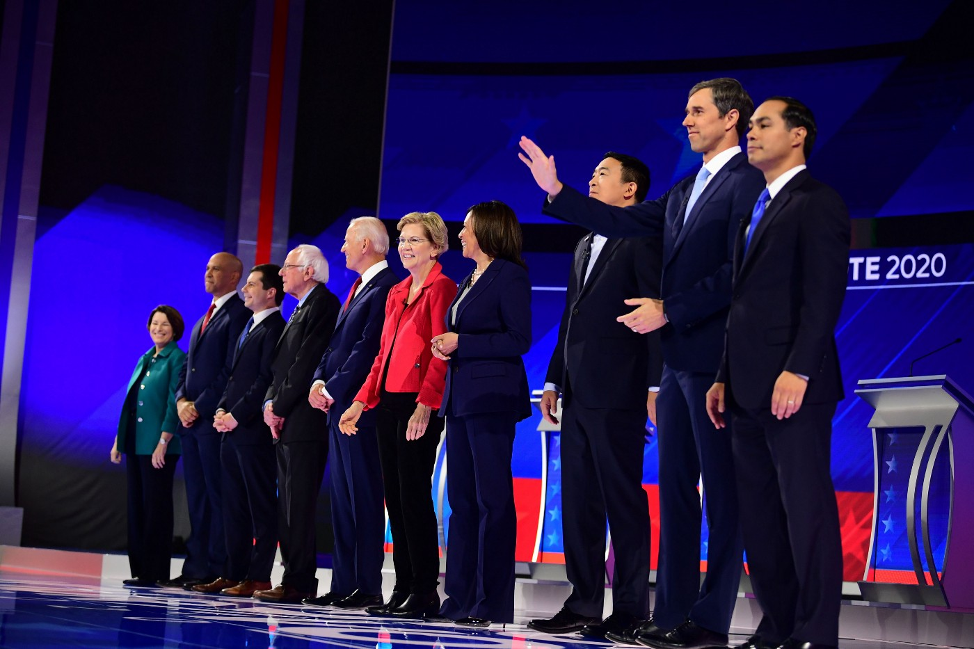 Democratic presidential hopefuls onstage ahead of the third Democratic primary debates for the 2020 presidential campaign.