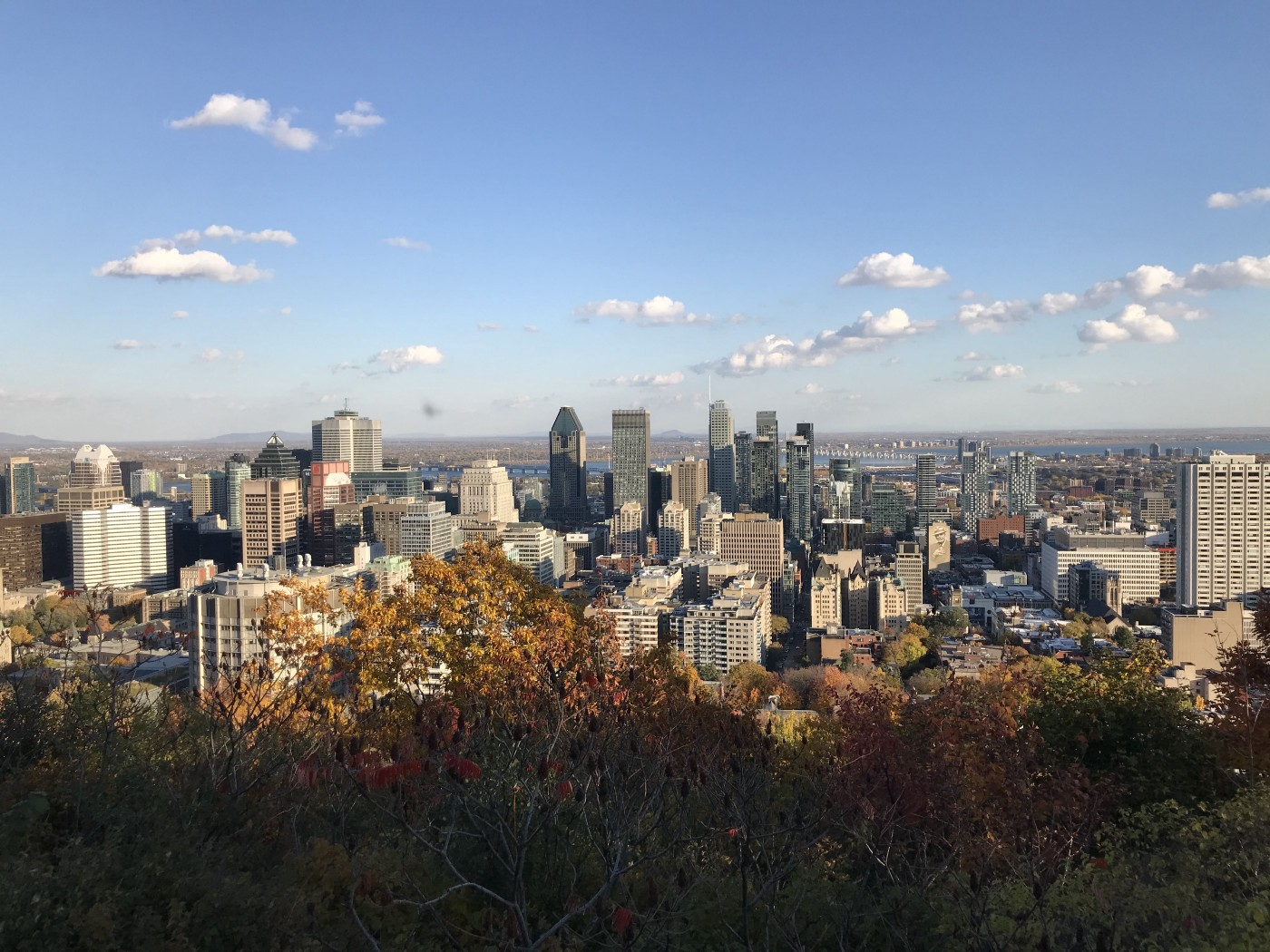 The skyscrapers of Montreal as seen from Mount Royal, in the fall, under a blue sky with a few white clouds.