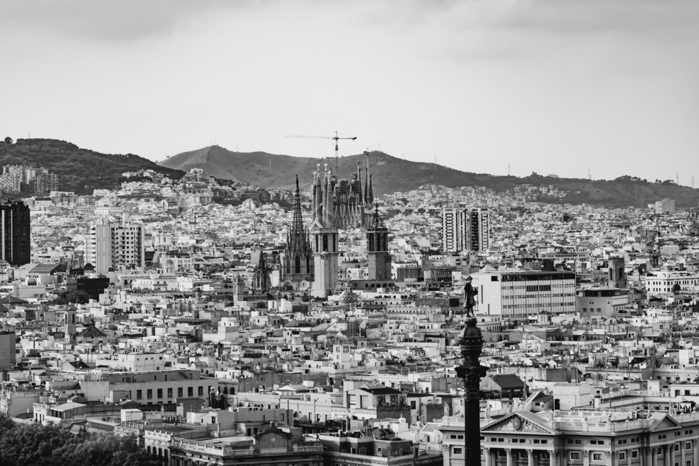Barcelona, with the Sagrada Familia visible in the middle of the frame. It's a building that will take a millennia to complete, with Anotnio Gaudi always aware he would not be alive to see it at completion.