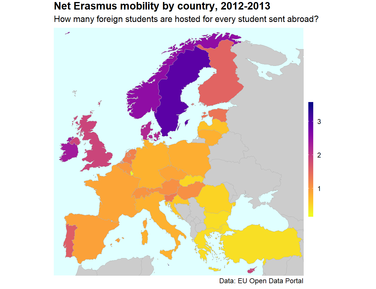 Making a map with EU data on R: Erasmus exchanges by country