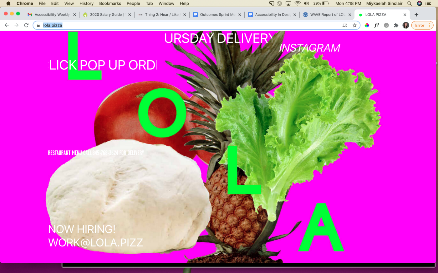 Lola Pizzaria's website homepage which includes overlapping images of pineapples, lettuce, pizza dough and tomatoes