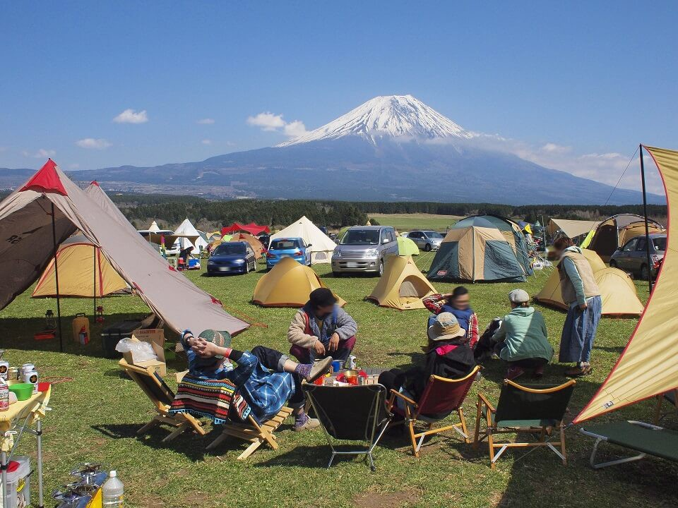 Camping site with Mt Fuji in background