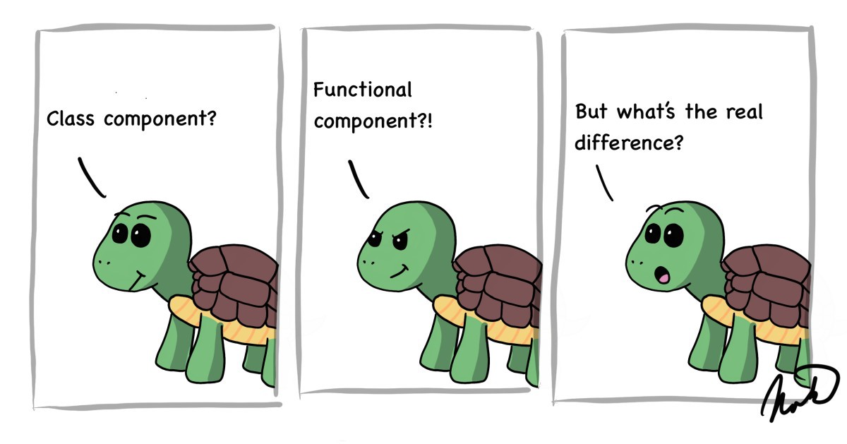 cartoon turtle asking what is the difference between class and functional components