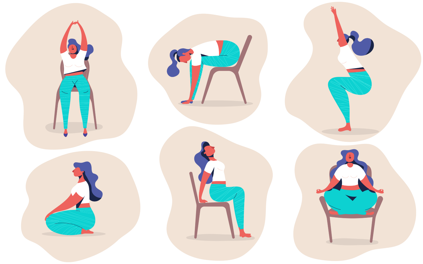Illustrated images of a woman doing yoga poses either seated or in a chair