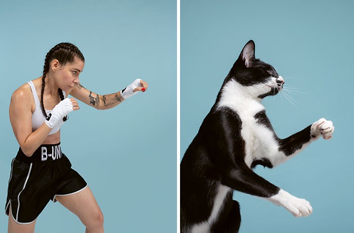 A woman appears to be practicing boxing, wearing shorts and braids, next to a cat who seems to be in the same position
