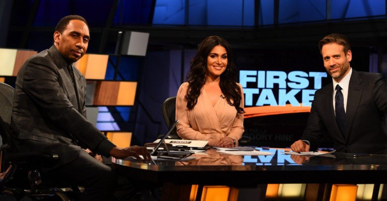 Left to right: Stephen A Smith, Molly Qerim, and Max Kellerman. Hosts and moderator of First Take on the First Take set