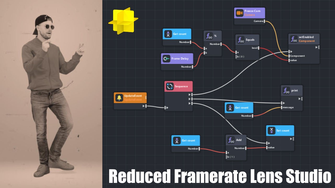 Create a reduced framerate effect in Lens Studio using the visual script editor