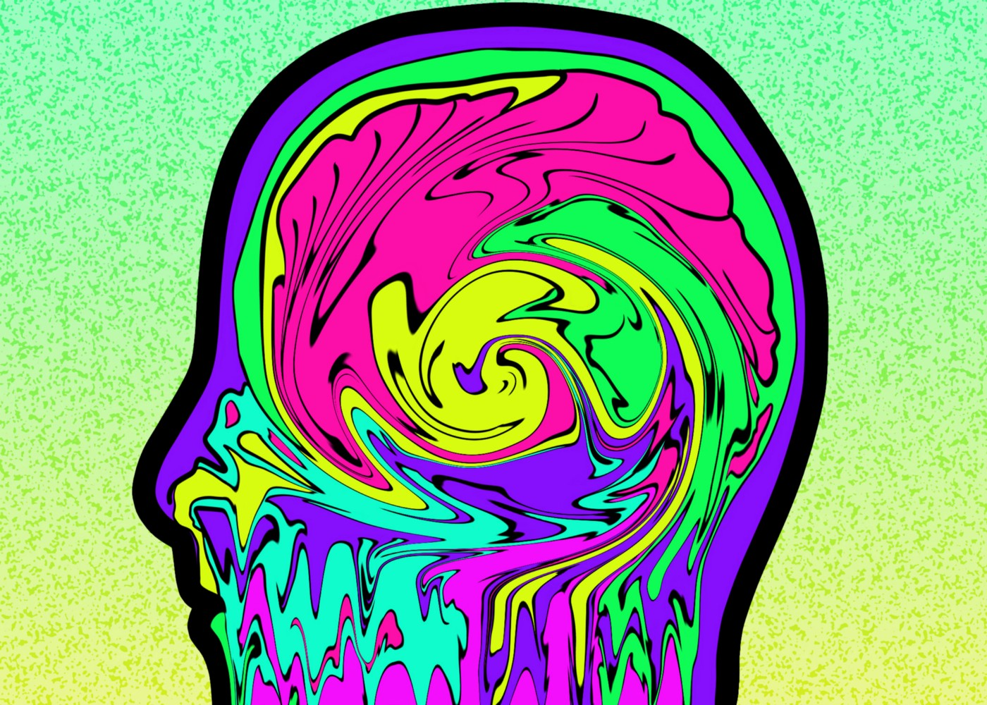Digital drawing of a silhouetted head with swirls of pink, yellow, green, purple, and blue inside where the brain would be.