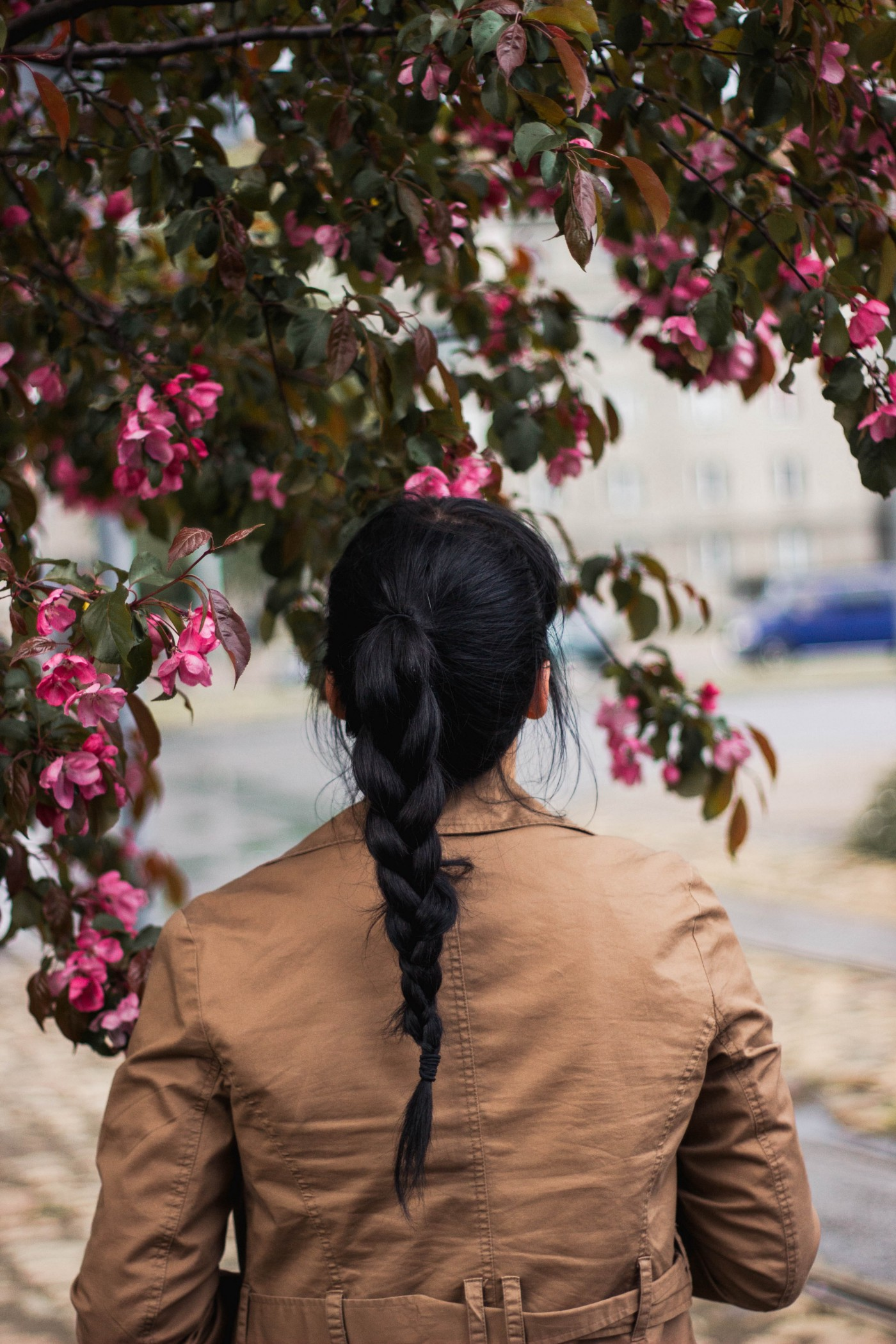 Woman with braided hair facing forward, pink flowers at left, over head, at right. Pale view of nature she's viewing.