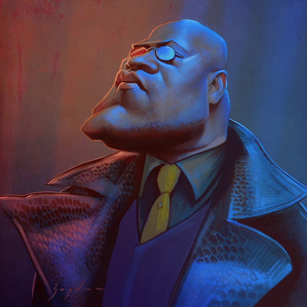 Illustration of the character called Morpheus from the movie—The Matrix