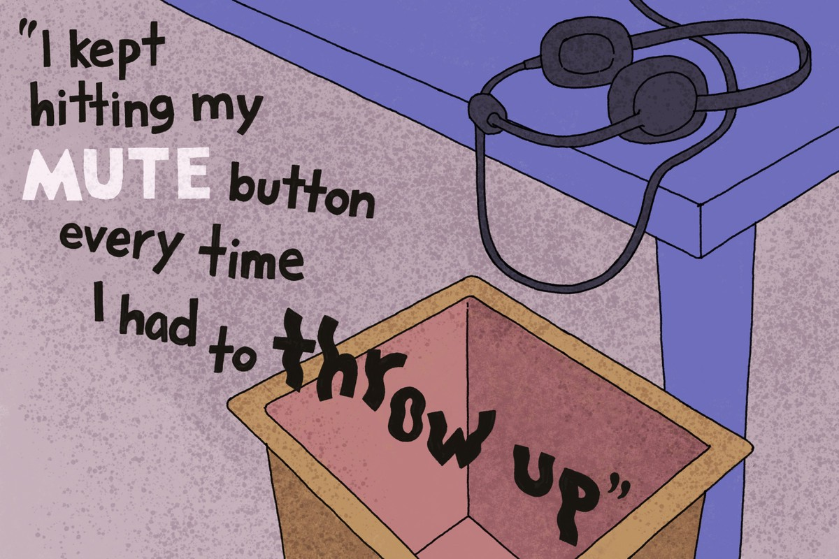 A picture of the corner of a desk with a discarded headset. Beside the desk is an office waste-bin. The image is captioned in shaky hand-lettering: 'I kept hitting my mute button every time I had to throw up. Image: Laila Milevski/Propublica