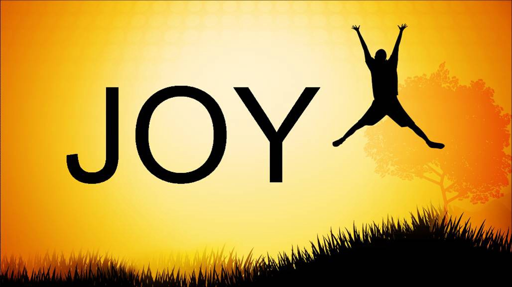 Word joy spelled in black letters next to person jumping for joy against sunlit background and tall grass.