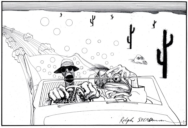 Drawing by Ralph Steadman of Dr. Gonzo and Hunter Thompson driving