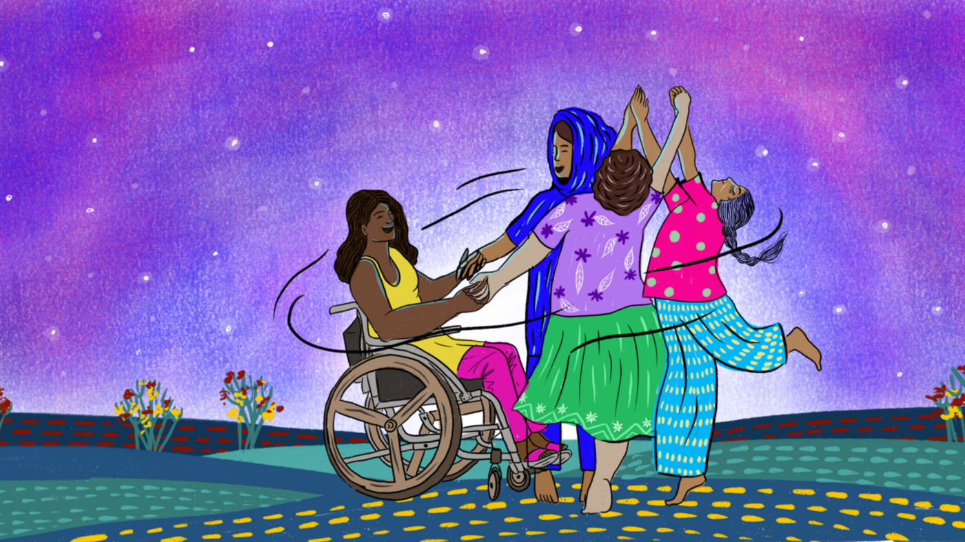 A illustration showing four joyful female figures holding hands and moving in celebratory circles.
