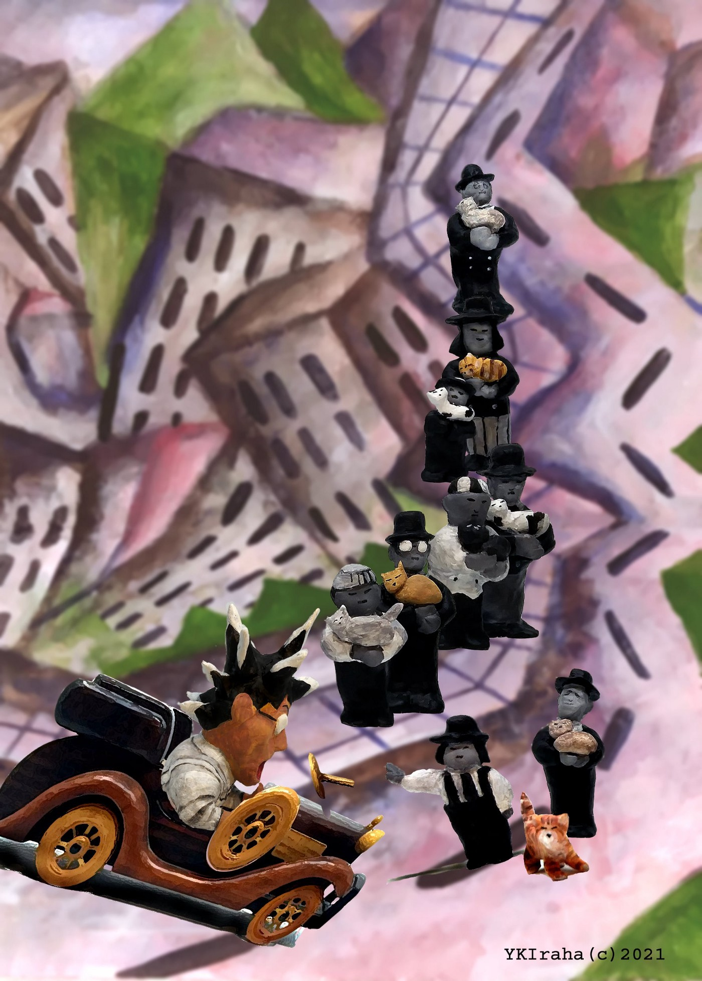 Yukio Kevin Iraha's 3d comic strip a car almost to run over a cat with nine ghosts each holding cats.