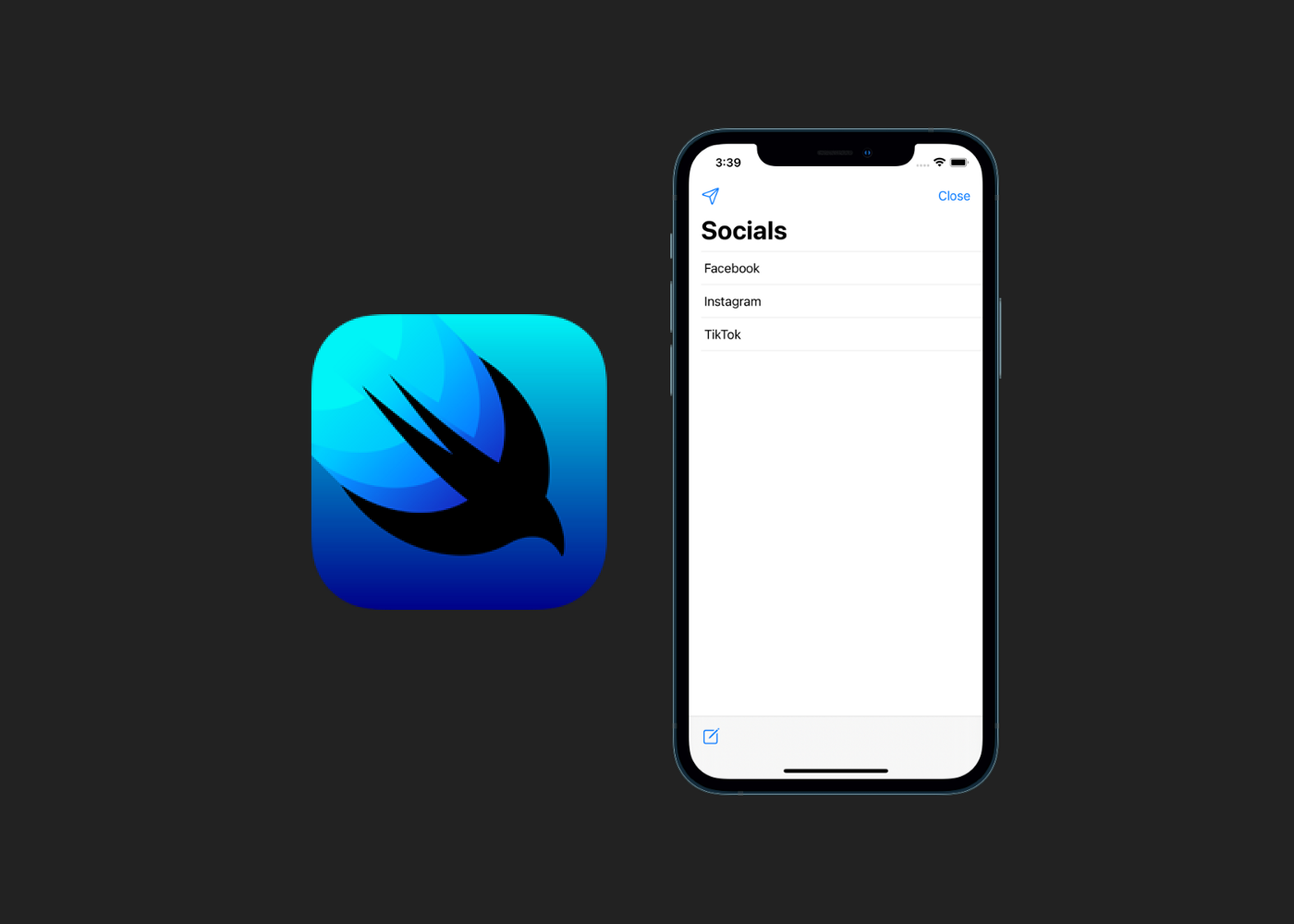 SwiftUI logo with an iPhone screesnhot
