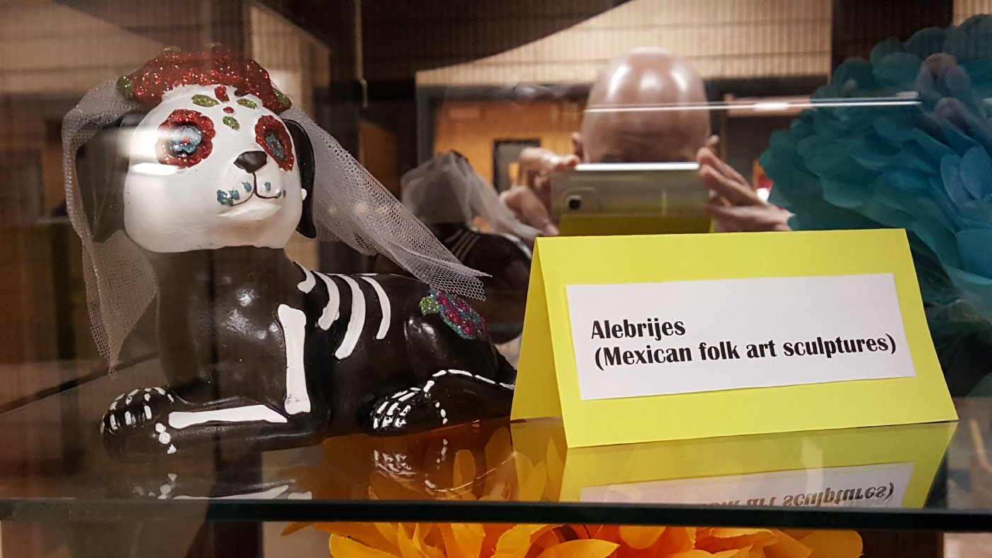 Alebrijes are often part of displays honoring Dia De Muertos, like this display at Indiana University Northwest in Gary, Indiana.