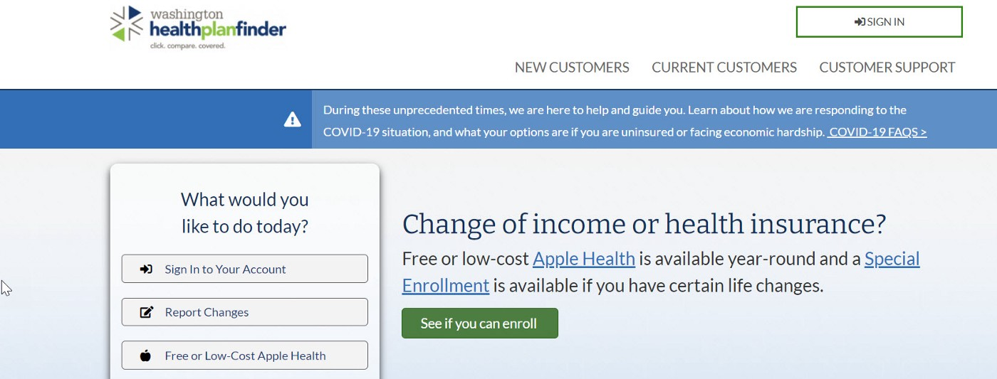 an image of Washington's official health insurance marketplace, www.wahealthplanfinder.org
