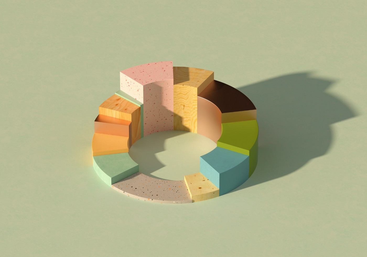 Digital generated image of abstract multi colored donut/pie chart on pastel green background.