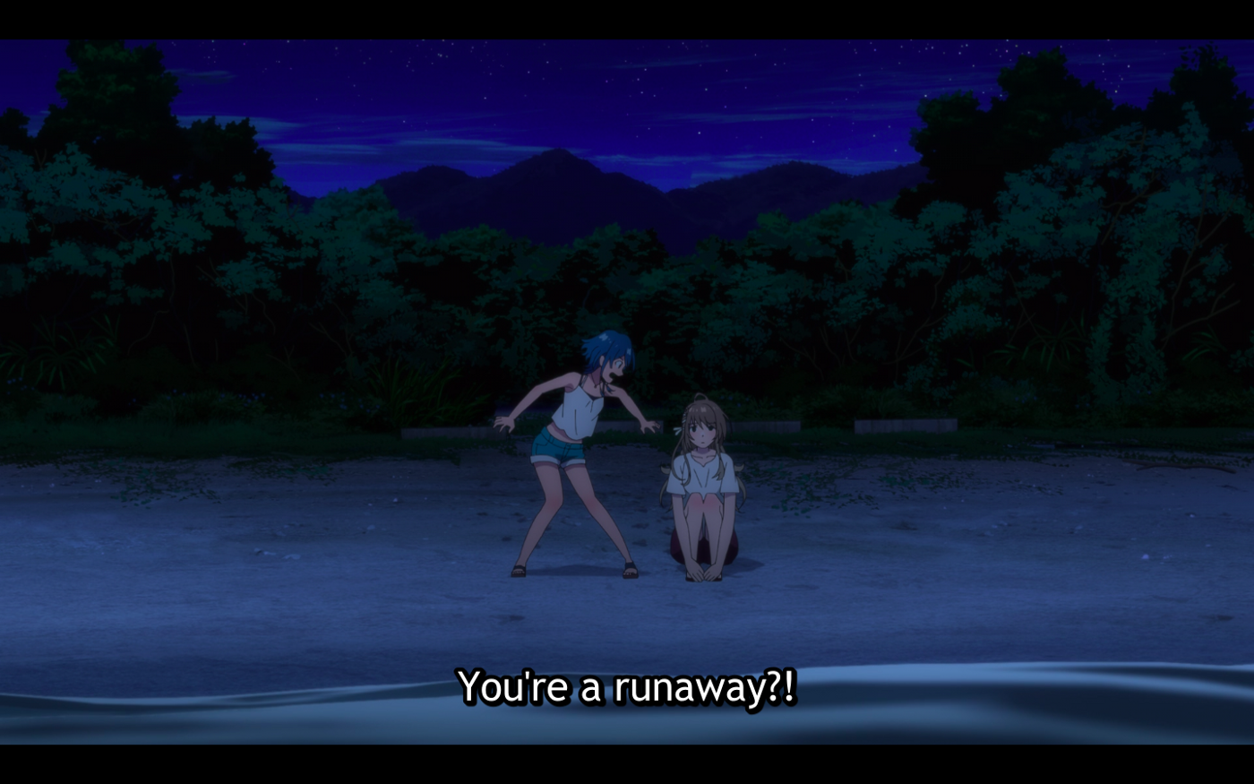 Kukuru is exaggeratedly shocked that Fuuka is a runaway as they talk on the beach.
