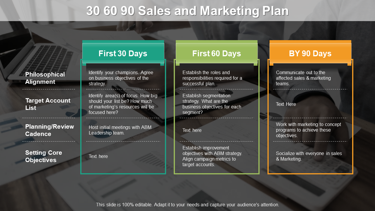 30 60 90 Day Sales and Marketing Plan PPT Template
