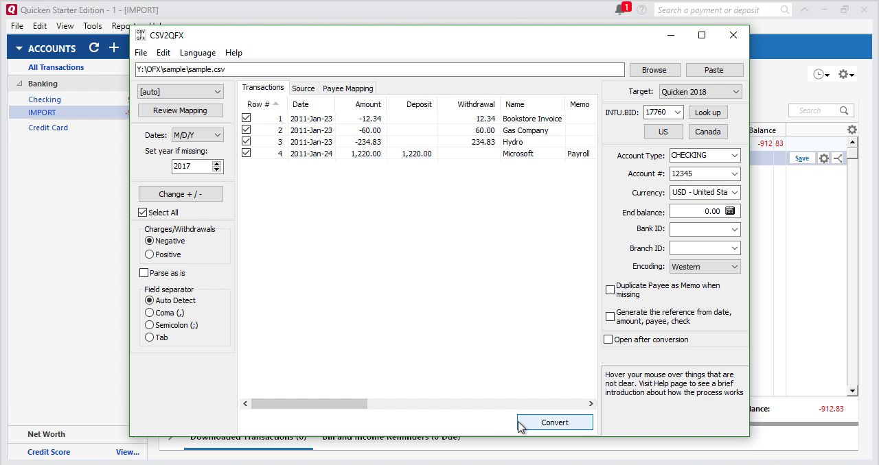Convert CSV/Excel to QFX (Web Connect) and import into Quicken