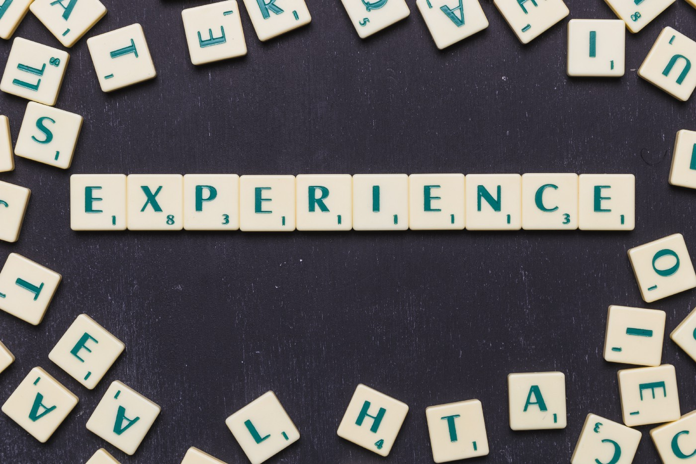 """A photo showing the word """"Experience"""" spelled out with Scrabble tiles."""