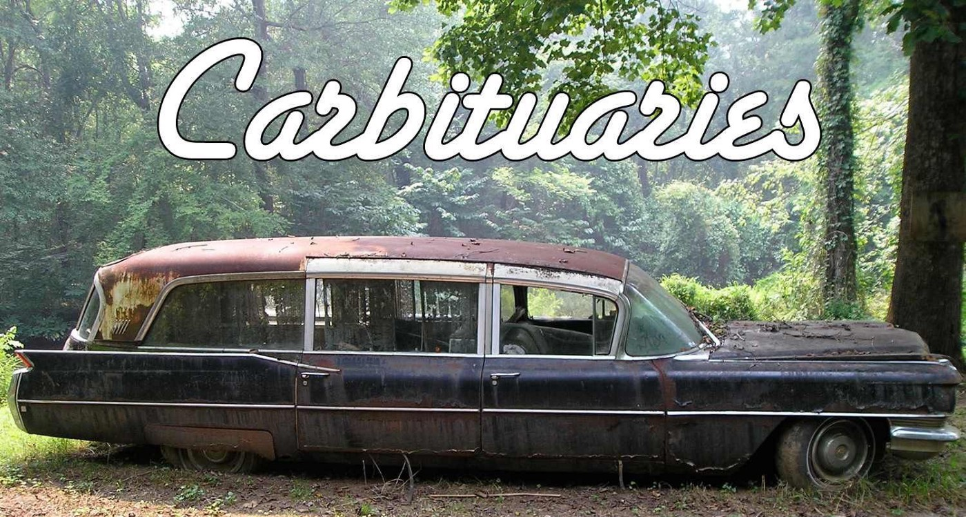 """""""Carbituaries"""" cover mockup of an abandoned hearse-like car in a forested area of Childersburg, Alabama."""