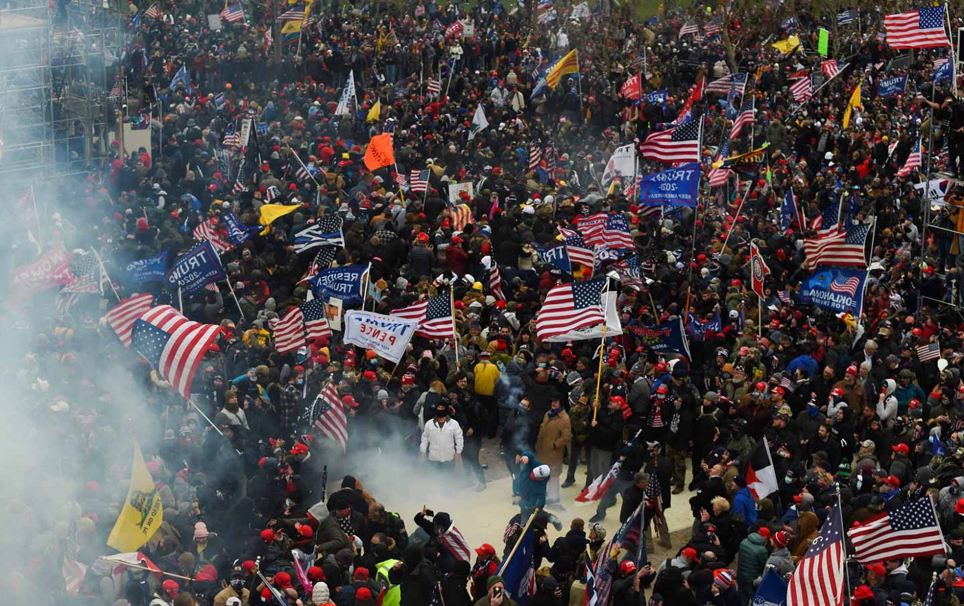 Trump supporters storm the US Capitol, clashing with security, on January 6, 2021 (Roberto Schmidt / AFP via Getty Images)