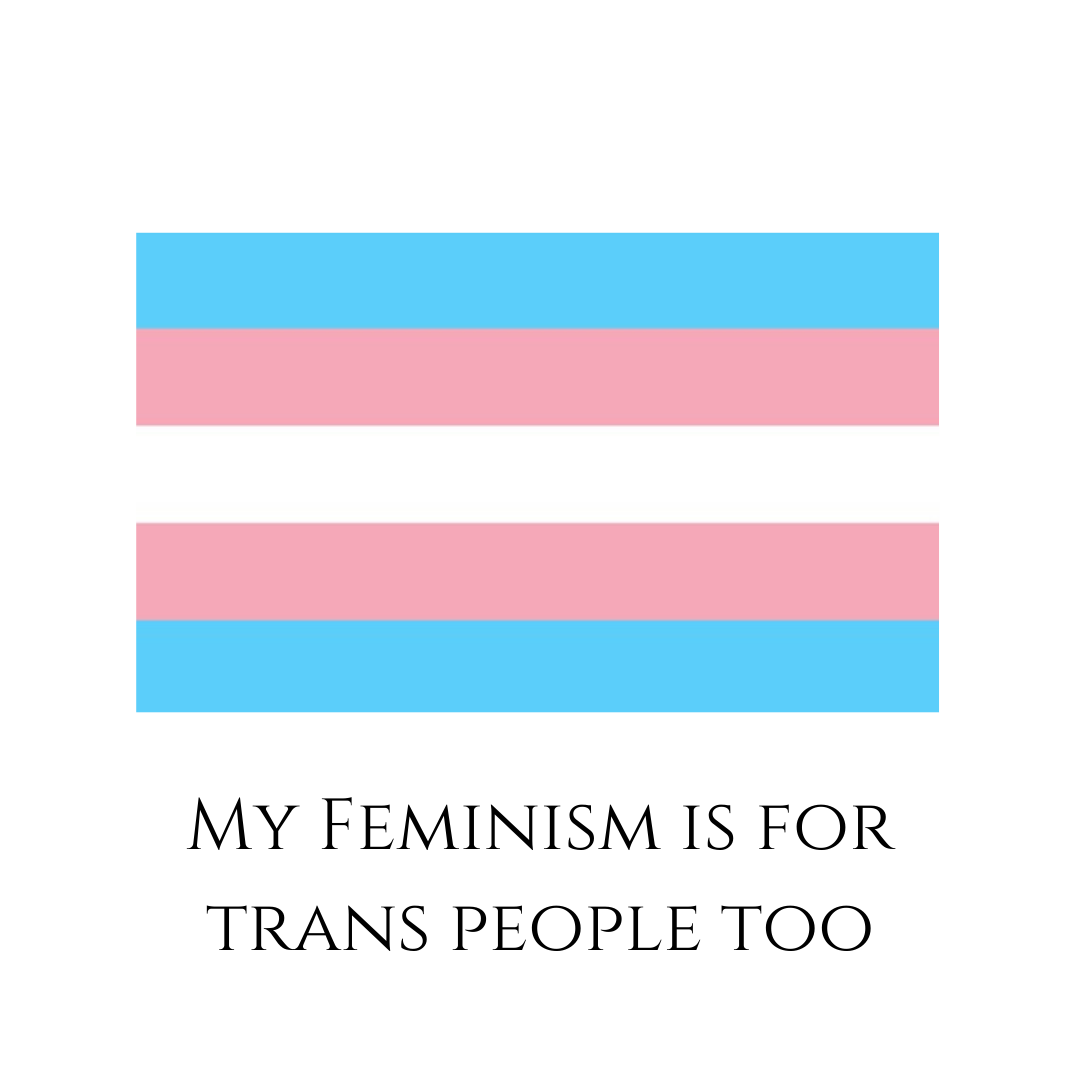 "Trans flag on a white background with ""My feminism is for trans people too"" written on it"