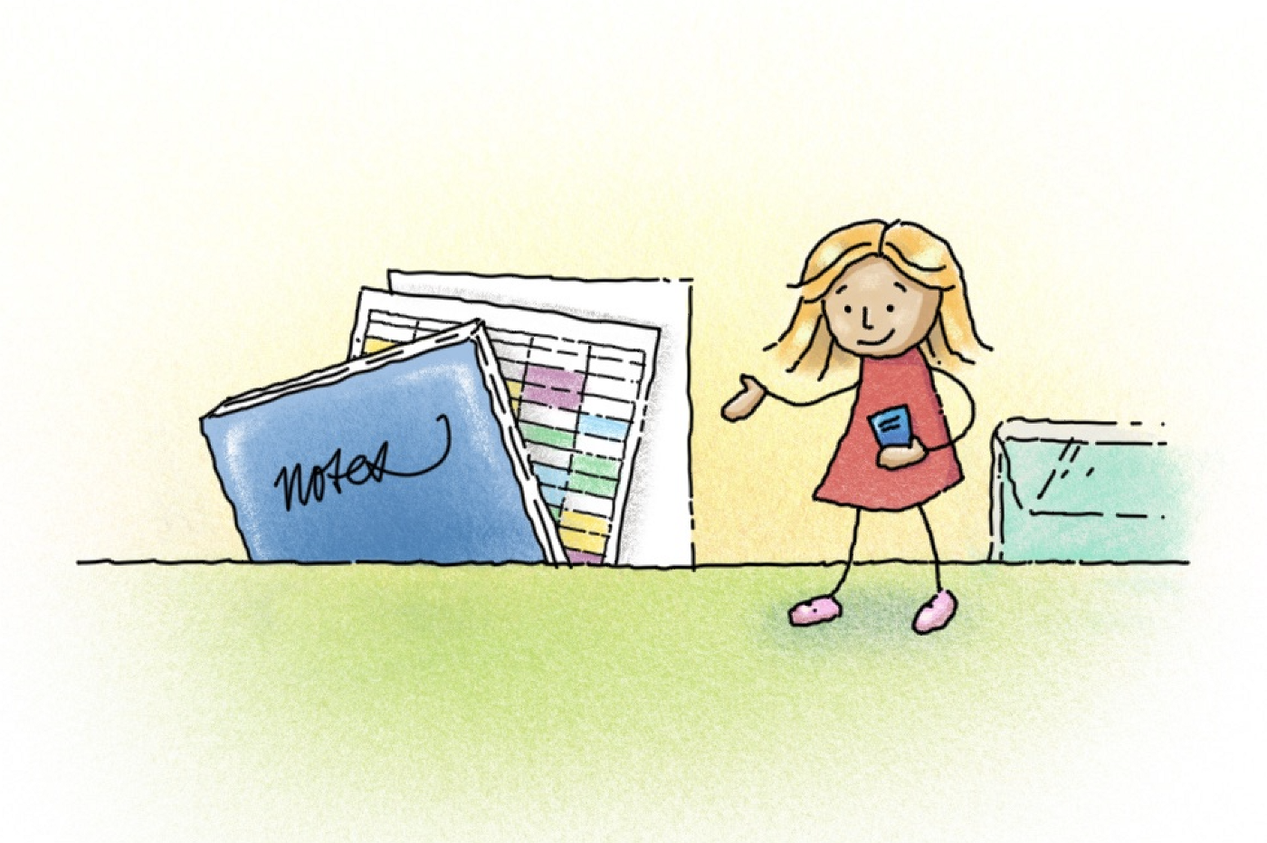 Cartoon girl holding a notebook, surrounded by giant notebooks and planning papers