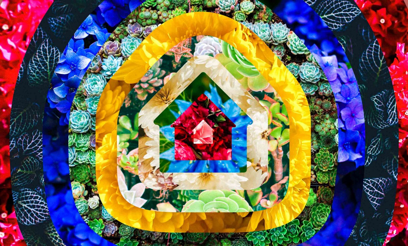 A graphic showing a home icon radiating out in colorful rings over a field of flowers that conveys harmony in difference, the potential for abundant growth, and a sense of security.
