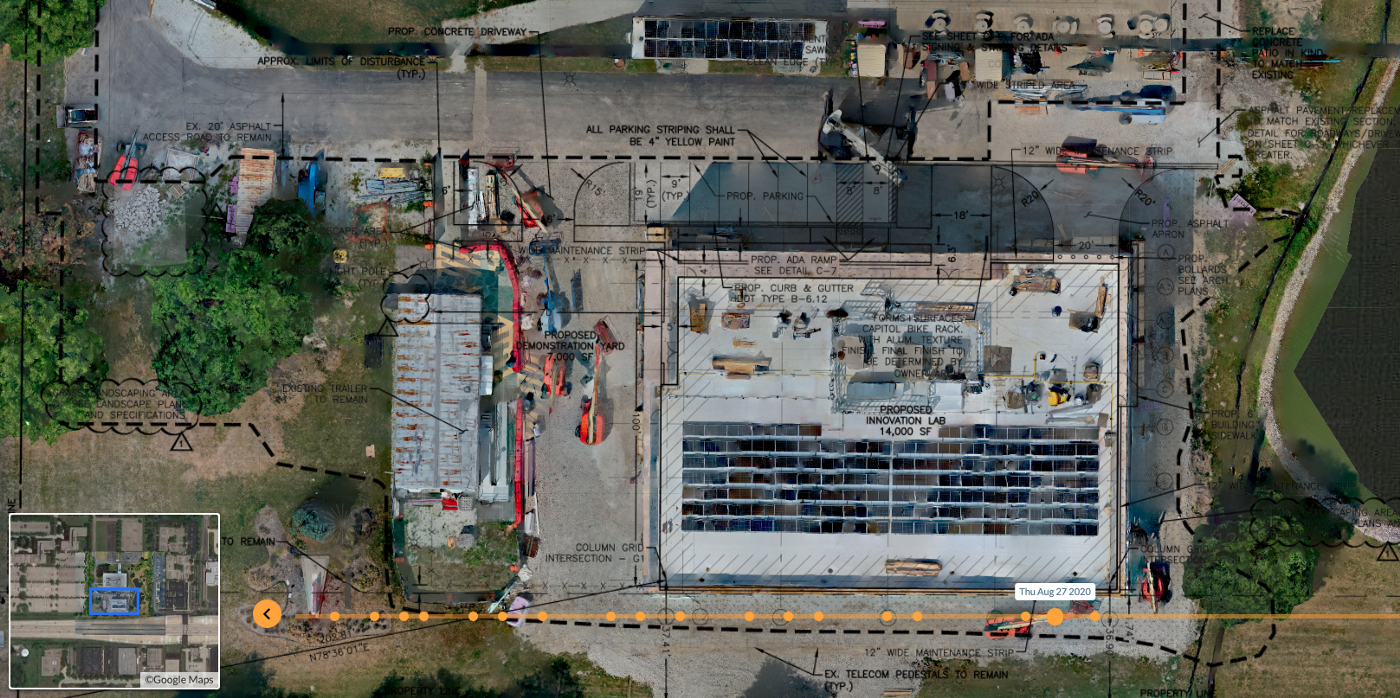 Map created from drone images and overlaid on site plans
