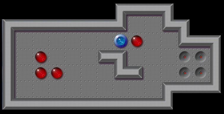 Sokoban level in which the player is pushing a box towards a goal.
