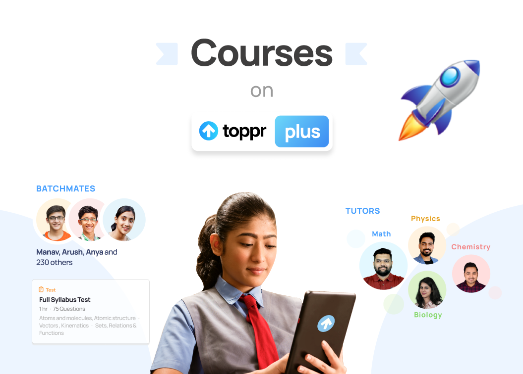 Introduces Courses on Toppr Plus with an image of older female student holding a tablet and animated pictures of her batchmates in the background.