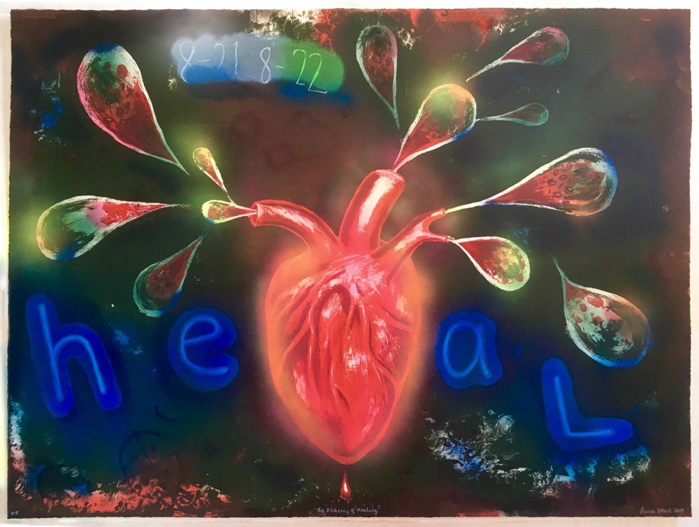 Painted image of a heart with colorful droplets emanating from it and the word heal written in large blue letters.