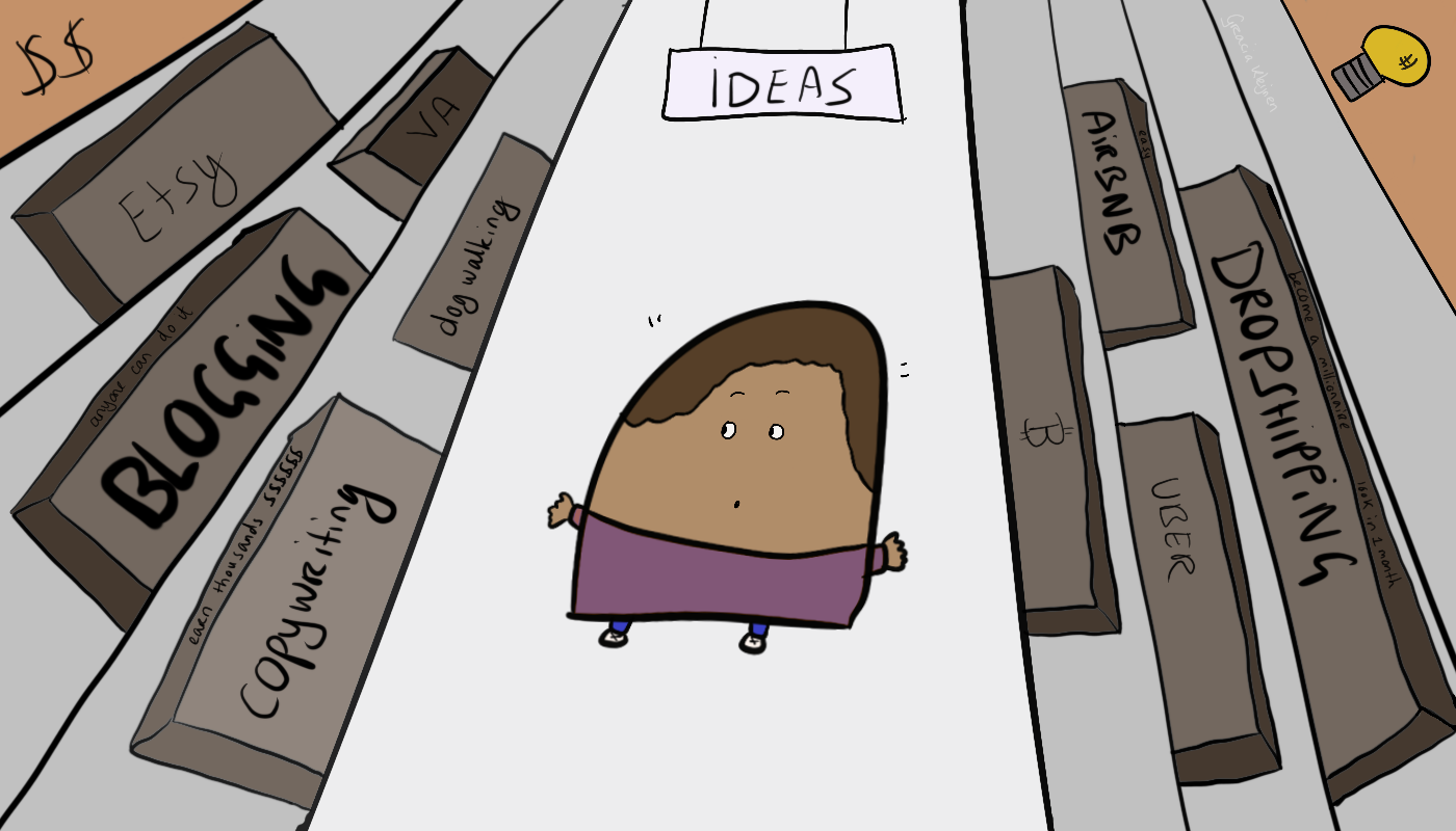 """An illustrated character standing in the supermarket """"Ideas"""" aisle. Boxed ideas: Etsy, blogging, copywriting, dog walking, dropshipping, uber, Airbnb"""
