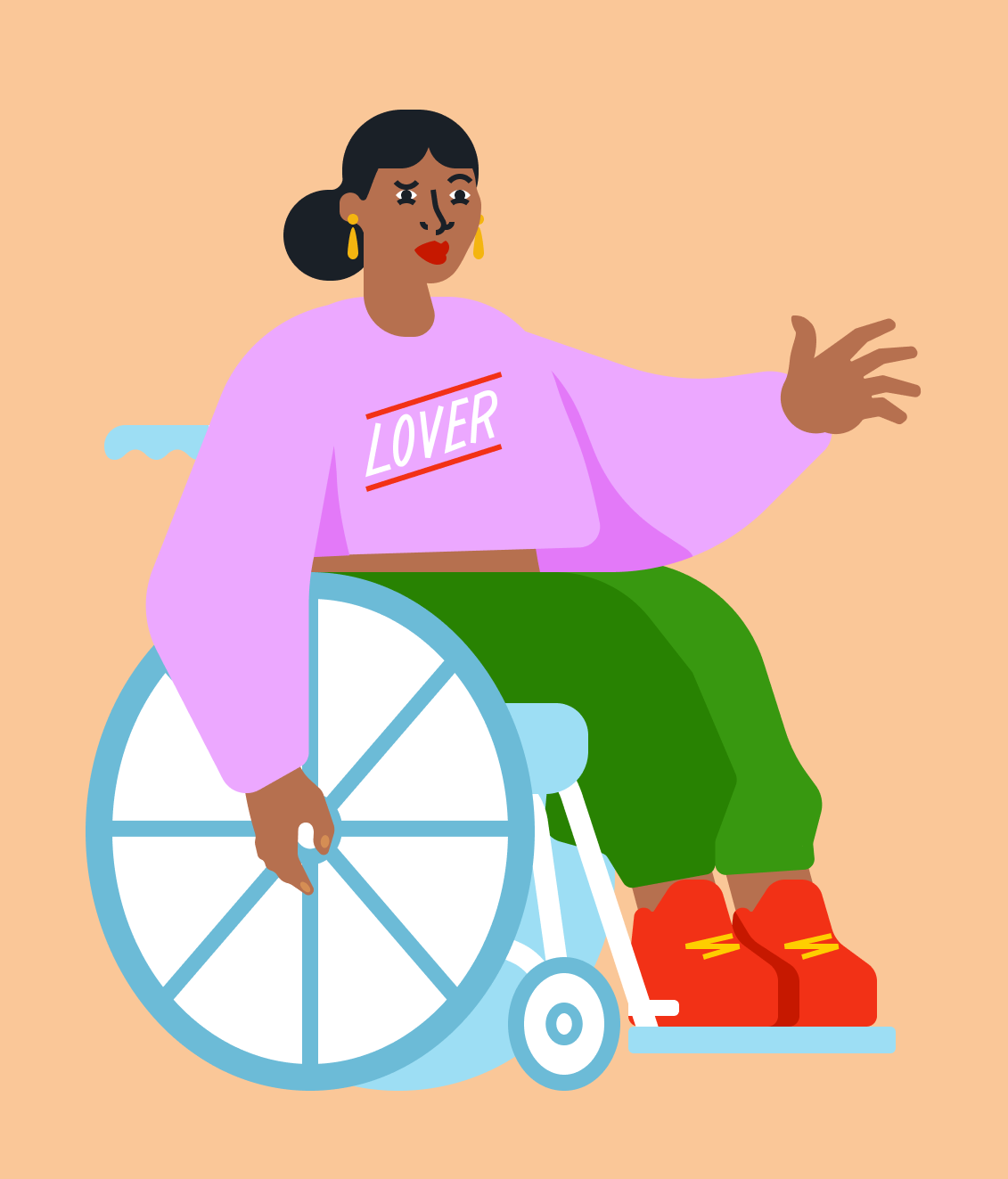 Digital illustration of woman in wheelchair with shirt that reads 'Lover'