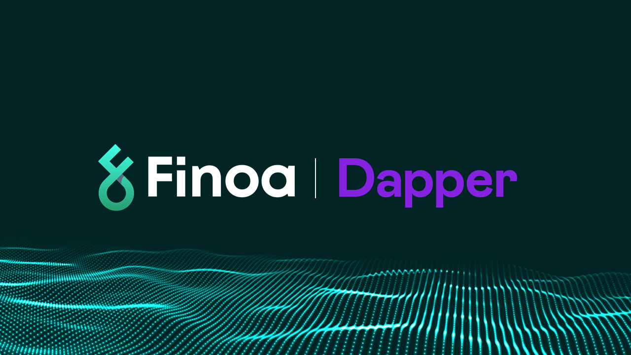 Finoa announces partnernship with Dapper Labs including logos.