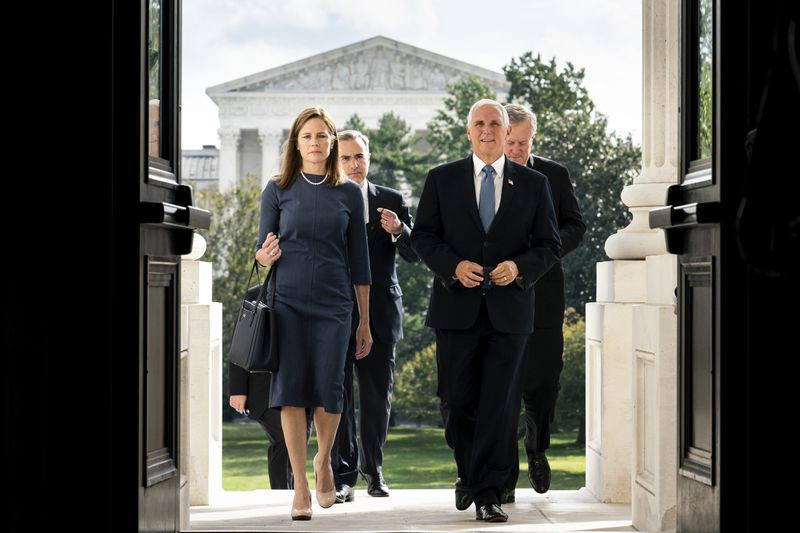 Judge Barrett and VP Pence arrive at Capitol (Chicago Tribune, Sept. 29, 2020)