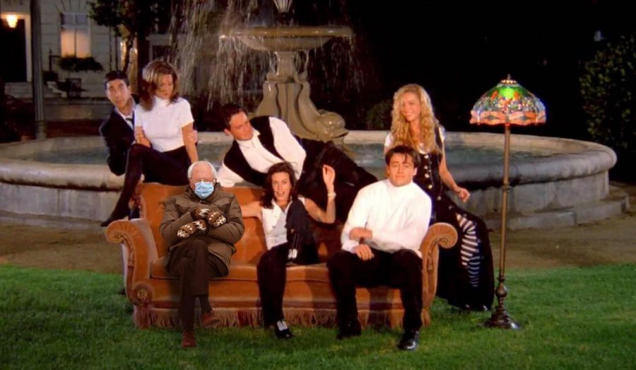 Bernie Sanders in mittens superimposed on opening shot from the TV program Friends in which cast sits outdoors on a couch